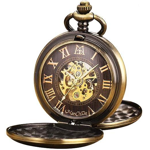 Reloj de Bolsillo - ManChDa Antiguo Mecánico Automático/Cuerda Manual Bronce Tren Tren de Vapor