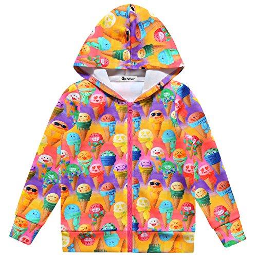 Jxstar Girls Hoodie Jacket Sweet Full Zip Pocket Coat Outwear Rainbow Icecream ()