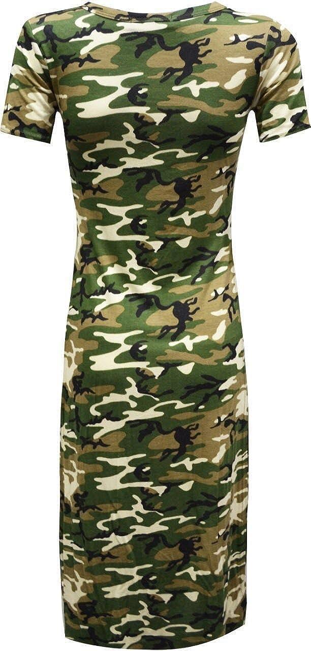 7b7dc376 GirlzWalk ® Women Army Camouflage Print Short Sleeve Split Side Long Midi  Dress at Amazon Women's Clothing store: