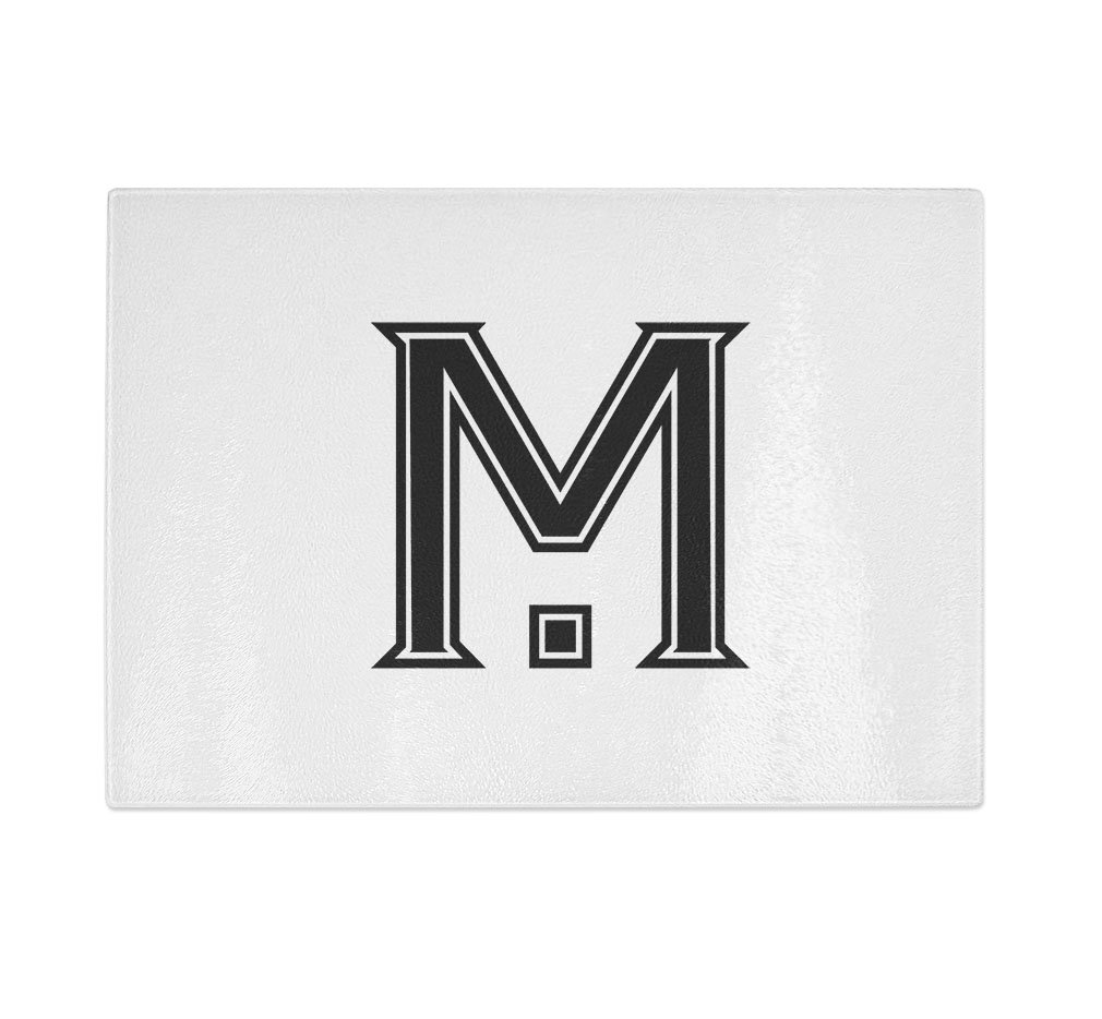 ''M '' College Font Initial Monogram Letter M Kitchen Bar Glass Cutting Board - 8 in x 11 in