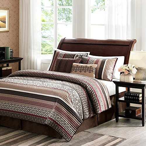 5 Piece Red Black Brown White Stripes Coverlet Full Queen Set, French Florals Bedding, Horizontal Geometric Motifs Lodge, Country Themed Pattern, Aztec Western Colors by D&H