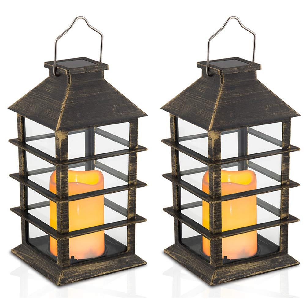 14'' Set of 2 Outdoor Solar Candle Lantern Flickering Flameless LED Candle/Plastic Hanging Solar Garden Light/Decorative Lantern For Patio Pathway Deck Christmas Halloween Garden Decor Yodotek