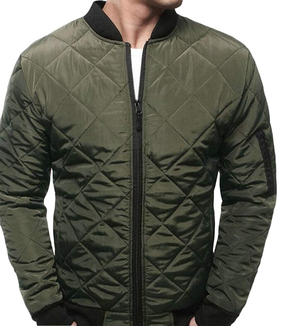 WSPLYSPJY Mens Solid Stand Collar Zipper Long Sleeve Quilted Down Jacket Coat