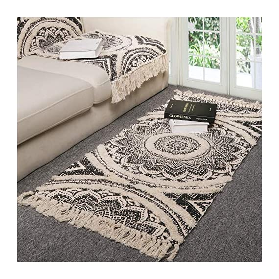 Cotton Area Rug, KIMODE Hand Chic Diamond Print Tassels Throw Rugs Door Mat Indoor Area Rugs for Bathroom,Bedroom,Living Room,Laundry Room (2' x 4.3', Mandala) - ★COTTON MATERIA: 45% Cotton+ 45% polyester+10% viscose, handmade woven rugs with extra snazzy knotted fringe tassels on each side, surface with block printed, reversible for double.(size not include tassel) ★3D TUFTED DESIGN: Hand tufted with a half inch of soft pile height which is plush underfoot yet withstands high traffic, a little tufted design with a cozy and luxurious feel. ★MANDALA AREA RUG: Decorative Moroccan pattern and throw it in your Porch, kitchen rug, bathroom rug, laundry Room,entry way rug, apartment rug, dorm room rug and more, it also can be used as a decorative tapestry to lighten your space. - runner-rugs, entryway-furniture-decor, entryway-laundry-room - 61eX IbYjFL. SS570  -