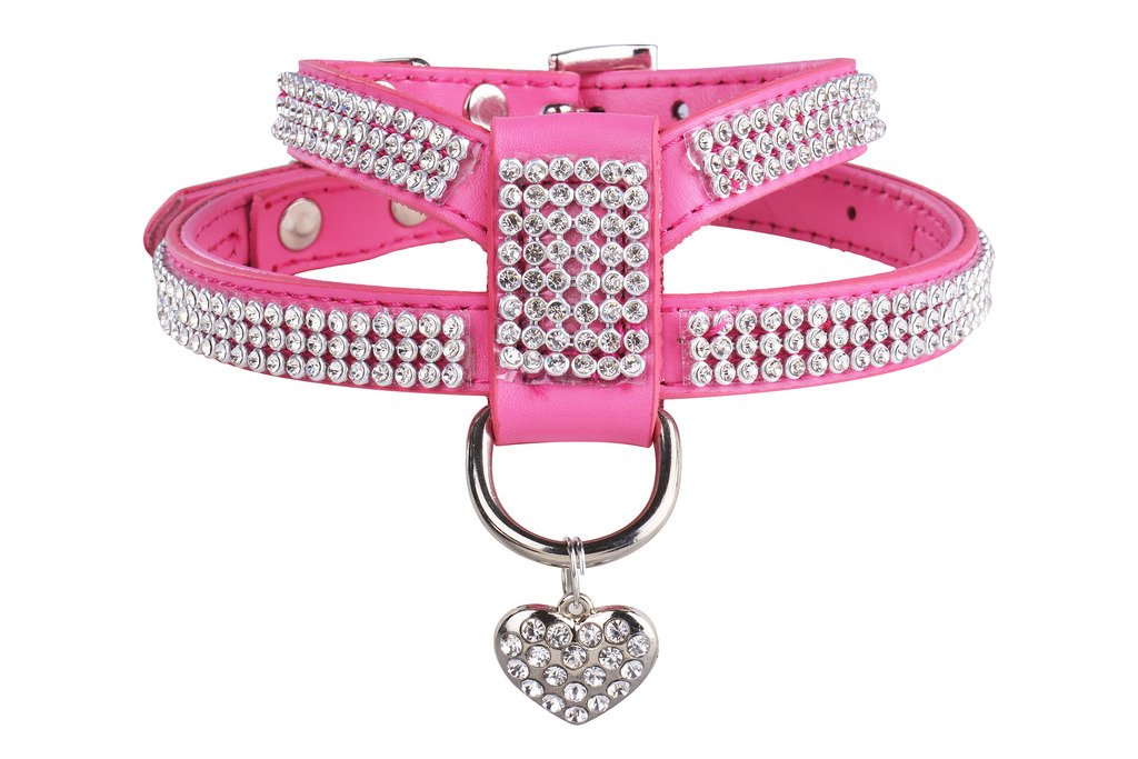 EXPAWLORER Dog Harness Genuine Leather Soft Padded Pet Sparkly Rhinestone Vest with Heart Pendant for Puppy Cat, Pink