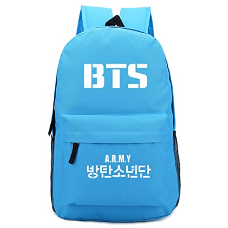 Kpop Canvas BTS Bangtan Boys Backpack Satchel Schoolbag Casual Daypack  Laptop Bags (Light Blue)