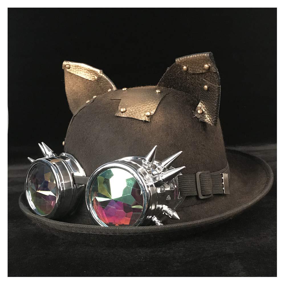 VAXT Glasses Topper Top Cosplay Hats Retro Lolita Women Men Steampunk Bowler Hat Color : Black BLG, Size : 57-58CM
