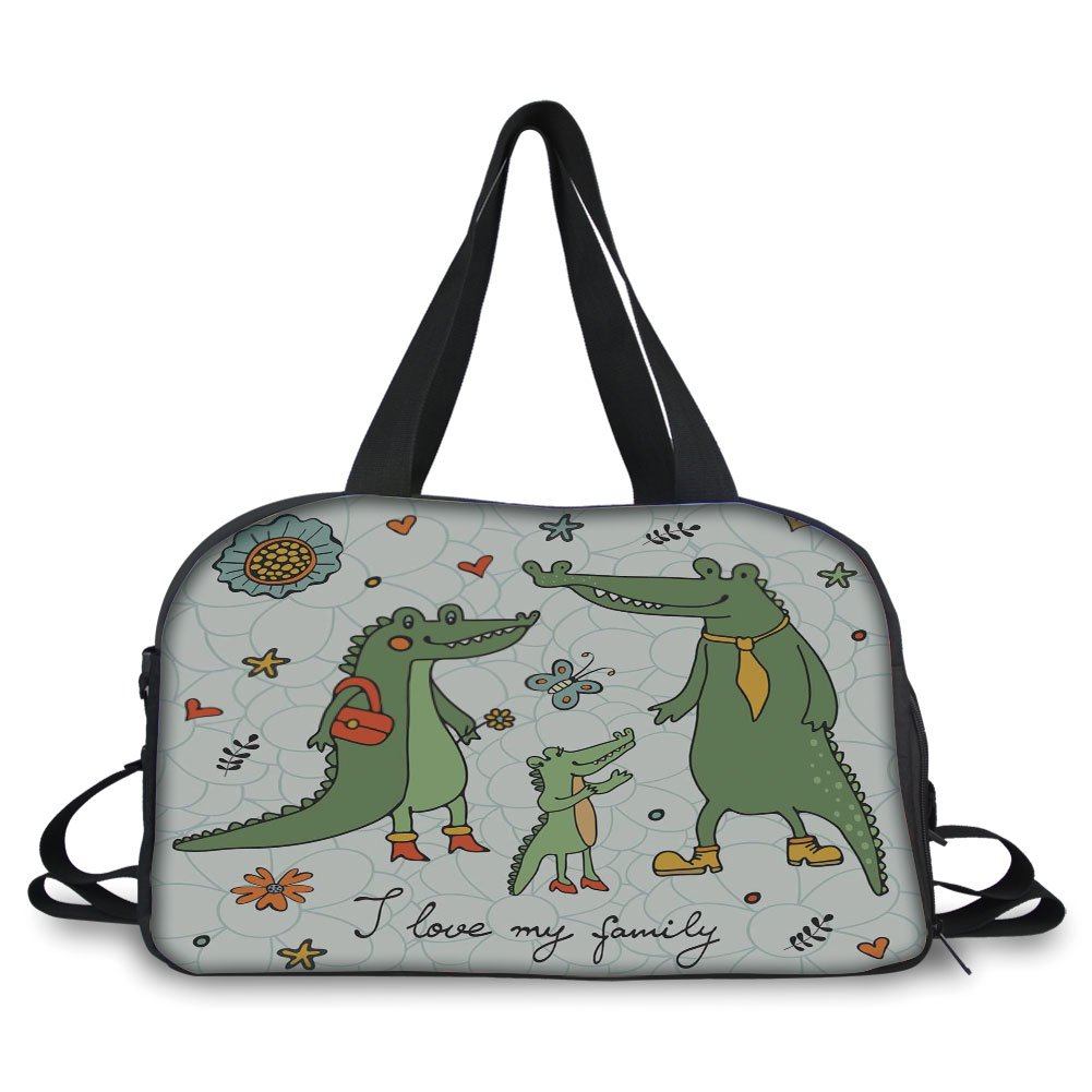 iPrint Travel handbag,Family,I Love My Family Theme Cute Hand Drawn Alligators Natural Background Fun Graphic,Multicolor ,Personalized