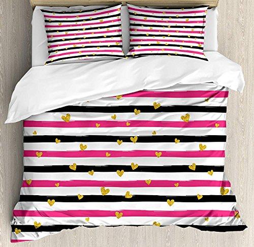 Gold and White Bedding Set, Romantic Teenager Love Sign Hearts on Grunge Stripes Lines, 4 Piece Duvet Cover Set Bedspread for Childrens/Kids/Teens/Adults, Hot Pink Black and White Full Size -