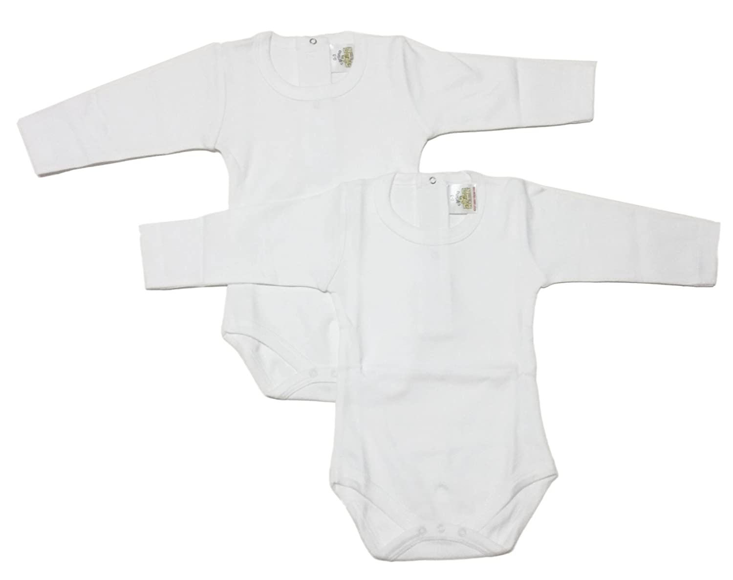 CARLINO 2-Pack Elegant Bodysuits - Back Snap, Extra Soft, Long Sleeve