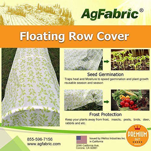Agfabric Warm Worth Heavy Floating Row Cover & Plant Blanket, 0.9oz Fabric of 6x25ft with Green Leaves Pattern for Frost Protection & Harsh Weather Resistant