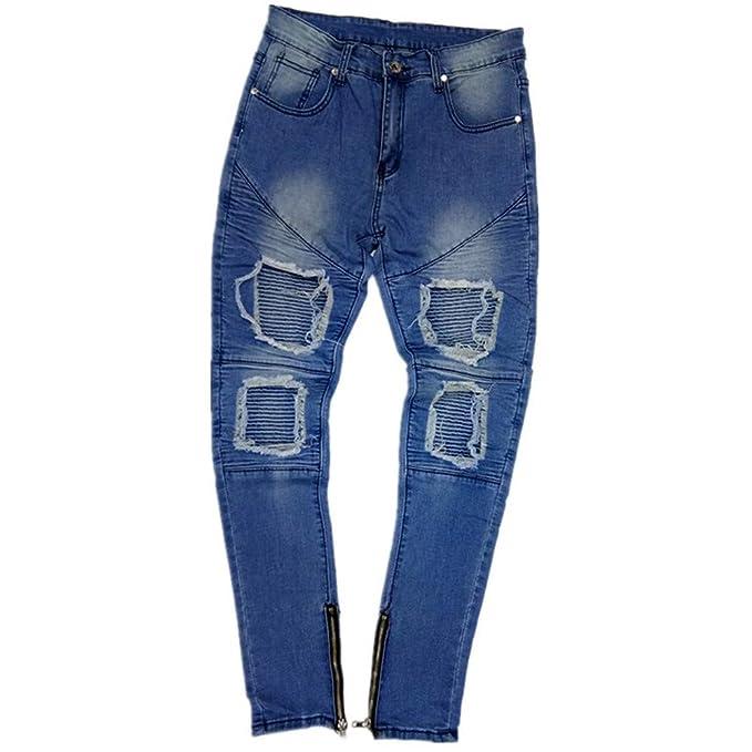 ♚ Pantalón de Jean desgarrado para Hombre 9895c7e216d1