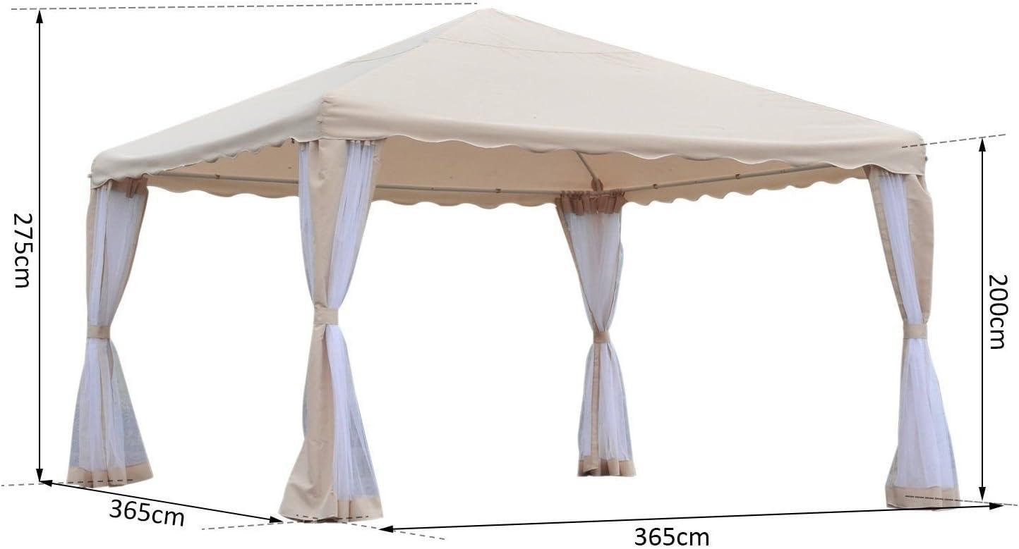 Outsunny - Pérgola cenador de jardín, impermeable, de poliéster, color beige, 365 x 365 cm: Amazon.es: Hogar