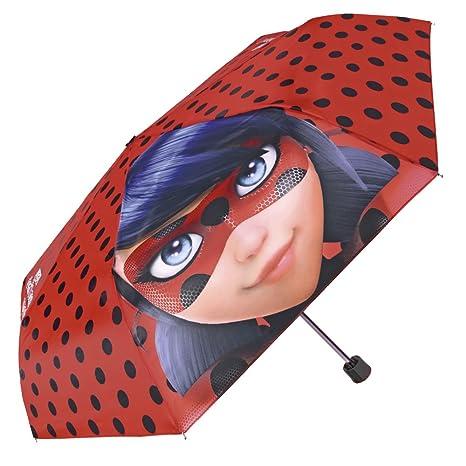 Prodigiosa Las Aventuras de Ladybug - Paraguas Mini para niña Lady Bug - Plegable con Estampado