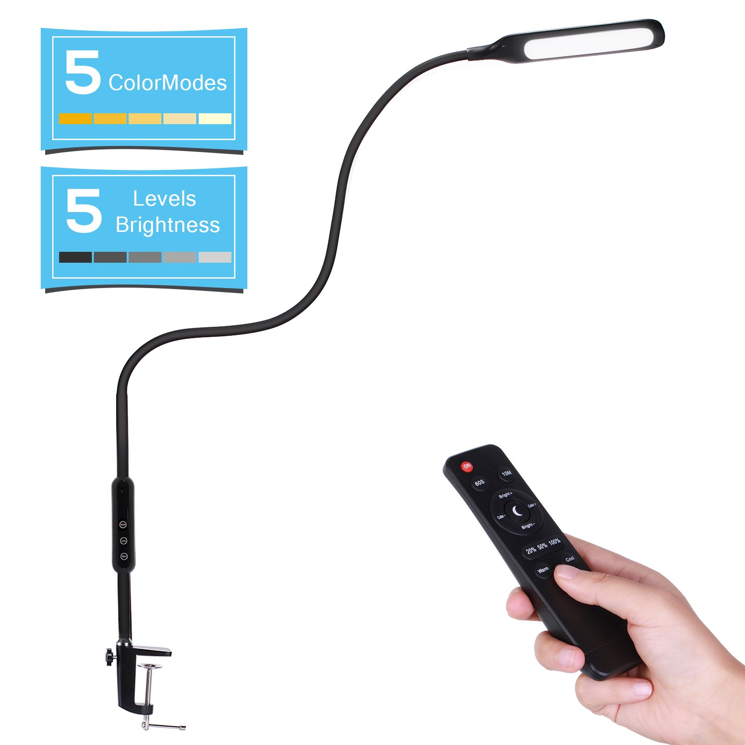 AVAWAY LED Desk Lamp Dimmable Office Desk Lamp Clamp Task Lamp with Remote 5 Levels Brightness 5 Color Mode Adjustable Gooseneck Memory Function for Living Room Bedrooms Office Black