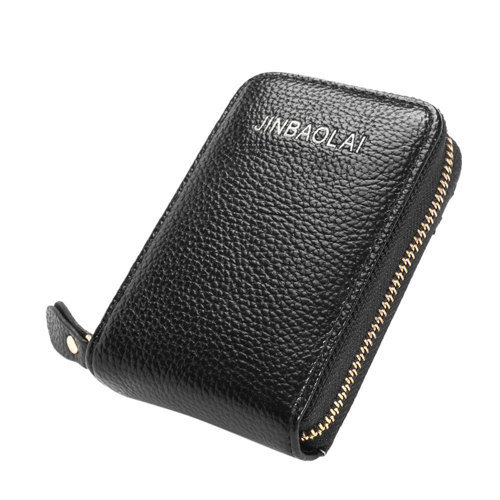 Male Wallet Genuine Leather Credit Card Holder Blocking Zipper Thin Pocket
