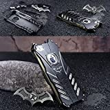 iphone 5 bumper aluminum - For Apple iPhone 5s Case, iPhone 5 Case, R-JUST Batman Style Luxury Aluminum Shell Bumper Shockproof Tough Armor Metal Back Case Skin Protective Cover + Free Bat Kickstand (Fit for iPhone 5/5s)