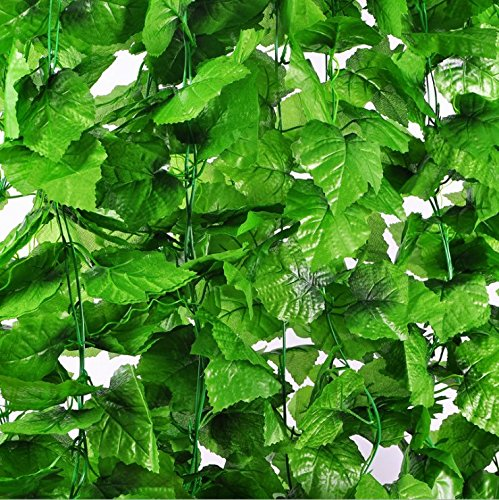 170Ft 24 Strands Fake Foliage Garland Leaves Artificial Decoration Greenery Ivy Vine Grape Leaves for Home Decoration, Wedding - Vine Grape Mall