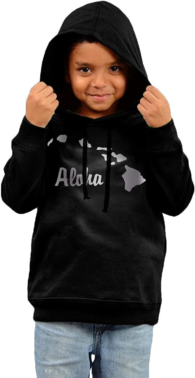 Little Boys Girls Aloha Hawaiian Platinum Style Hoodie Black