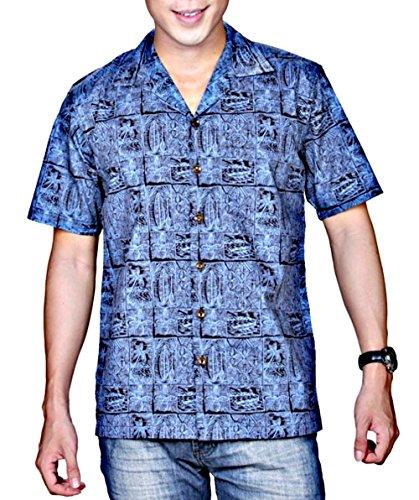 Hawaiian Tropical Cotton Aloha Shirt Paddle Block (Large, (Paddle Aloha Design)