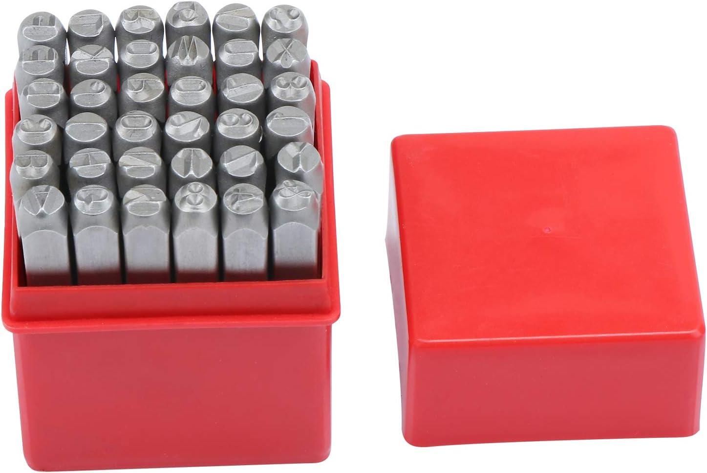 Hseamall Lot de 36 poin/çons en fer avec lettres et chiffres de 6 mm