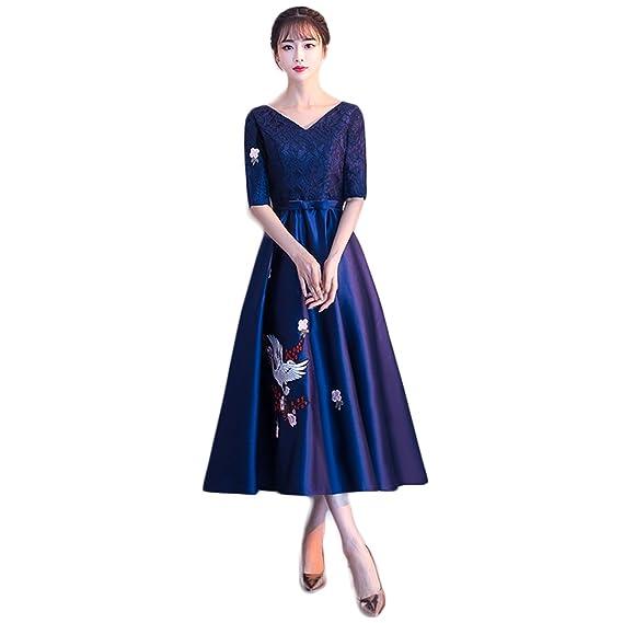 cce1c7b658a65  ビビショー パーティードレス ドレス 二次会ドレス 袖あり 大人 紺色 ドレス ウェディングドレス ロング