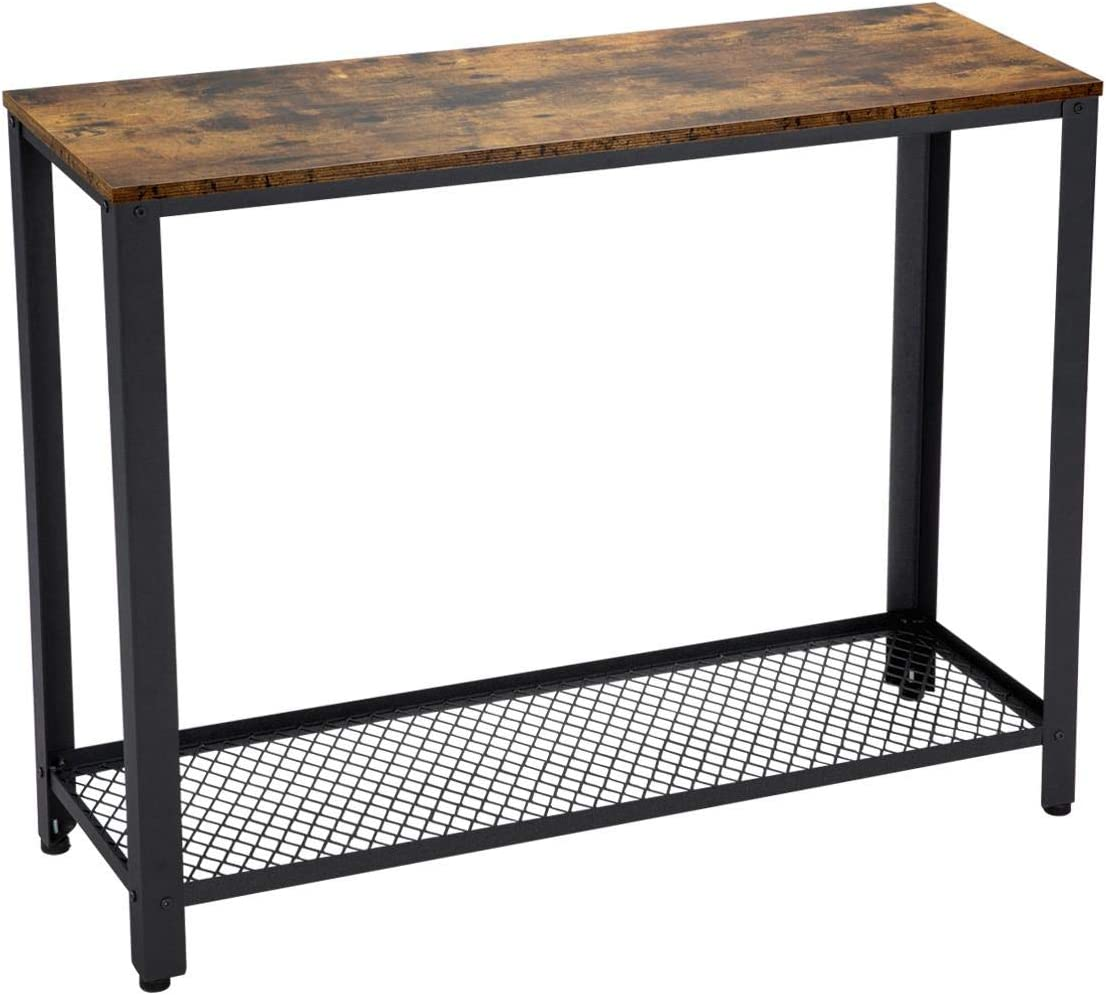 Yaheetech Industrial Console Table with Storage Shelf for Hallway, Sofa Table with Metal Legs for Living Room, Easy Assembly, Side Table for Narrow Space, Rustic Brown