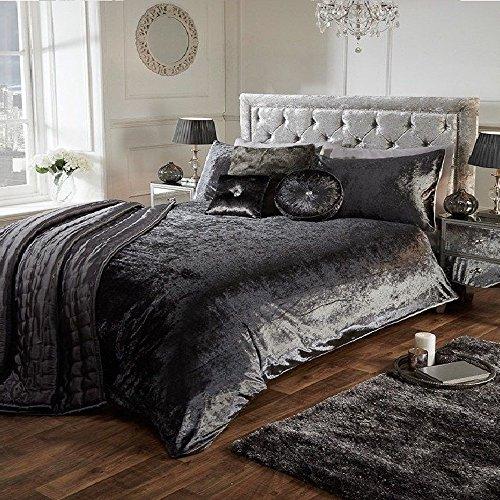 Luxury Crushed Velvet Duvet Quilt Cover Bedroom Bedding Set (Charcoal Dark Grey, King)