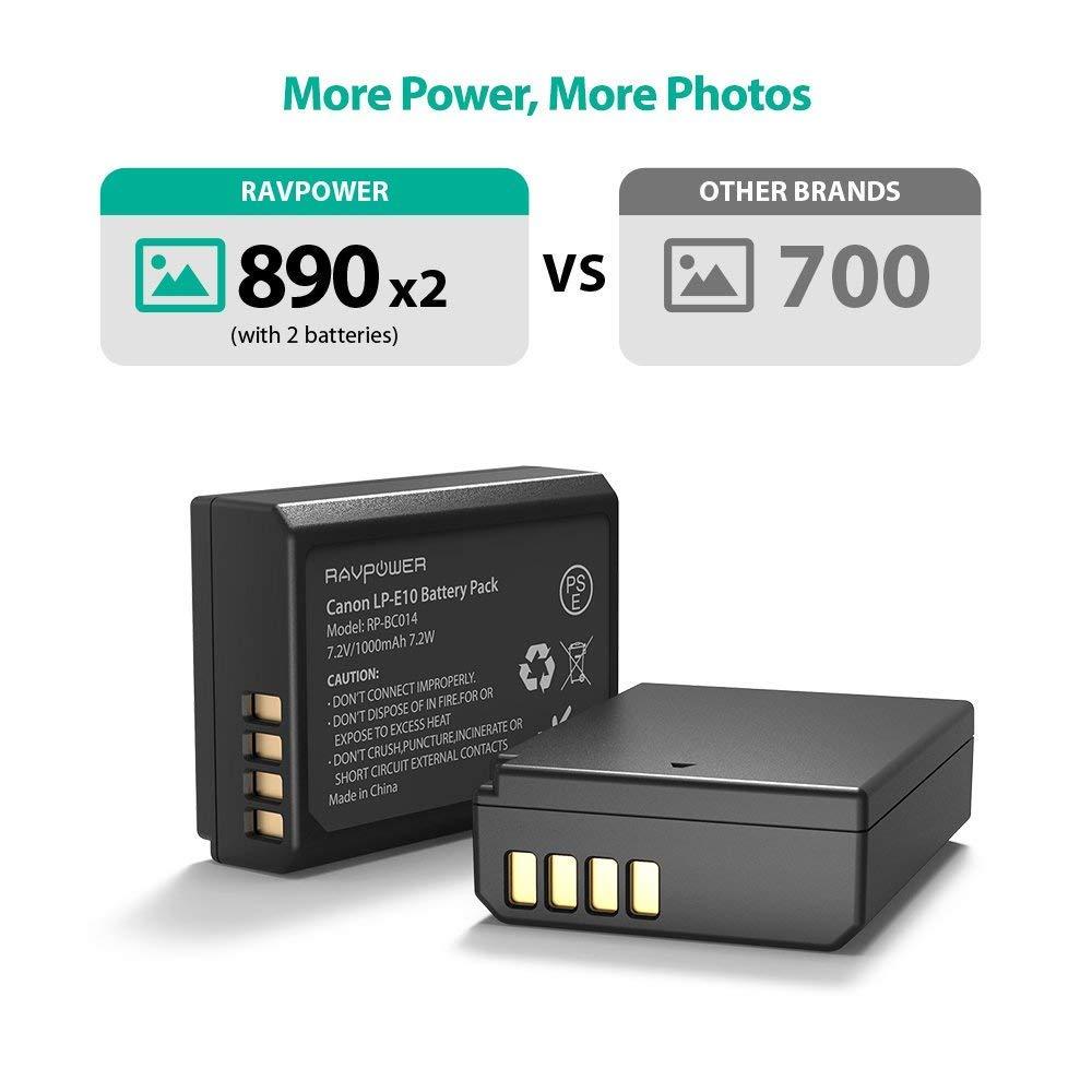 LP-E10 RAVPower - Juego de 2 baterías de cámara con Doble Ranura y ...