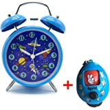 "Cute Children's Alarm Clock ,Yatow 4"" Twin Bell Wake Up Alarm Clock Nightlight Silent (Star Universe Pattern) With Free Kids Toys (Blue)"