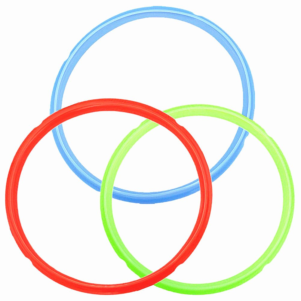 Silicone Sealing Ring Color Coded Sweet Savory Rings for 6 qt 5 Quart Instant Pot Models Rubber Gasket Pressure Cooker Replacement Parts (3 Pack - Red/Green/Blue)