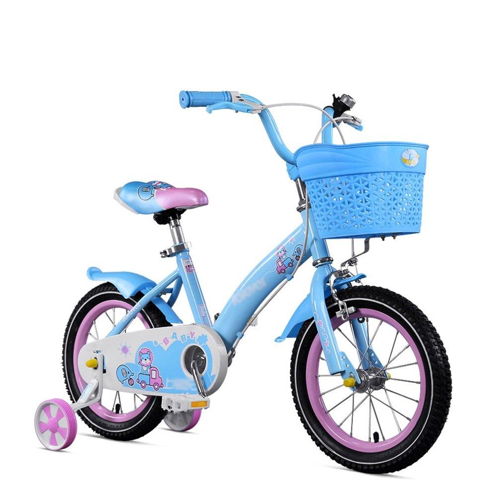 赤ちゃん少女ピンクブルーベビーカー学生ペダル自転車子供用自転車12 14 16インチ3-8歳 B07DW1K19Q 14 inch|青 青 14 inch