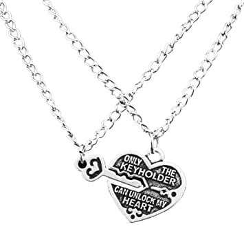 Bing Stars Best Friend Necklace Silver Plated Heart Key 2 Pieces Set Friendship Pendant Necklace 1xYJw