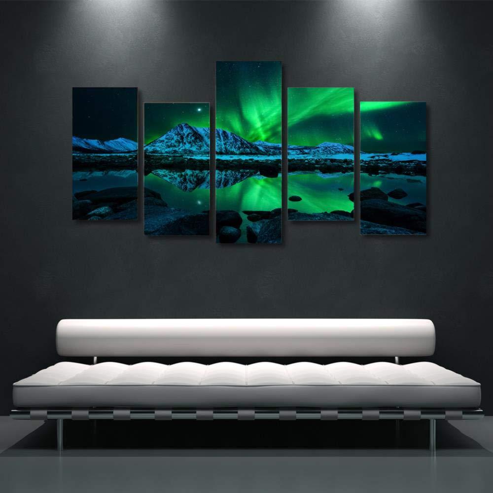 YIMENGSX HD-Druck Landschaftsmalerei 5 Stück Leinwand Kunst grün Aurora Borealis See Wandbild für Wohnzimmer Modular Bilder Giclee, Mit gerahmt, Größe 3