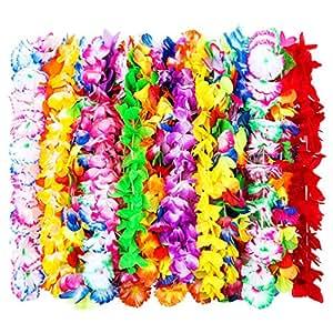 Guirnalda Hawaiana de Flores de Seda con Volantes Guirnalda Floral para Vestido, Collar de Fiesta y Playa, Colores Variados