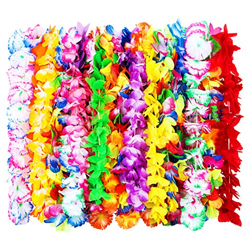 Outus 24 Pieces Hawaiian Ruffled Silk Flower Leis Luau Floral Leis for Dress, Party Necklace and Beach, Assorted Colors (Hawaiian Four)