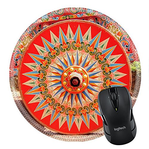 MSD Natural Rubber Mousepad Round Mouse Pad 20163867 Painted Ox Cart Wheel