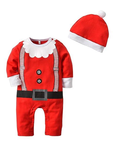 BESBOMIG Conjunto de Ropa para Niños Pequeñas - Divertidos Mamelucos de Navidad bebé de Santa Pijamas Traje de Dormir Mono con Sombrero 2 Piezas: Amazon.es: ...