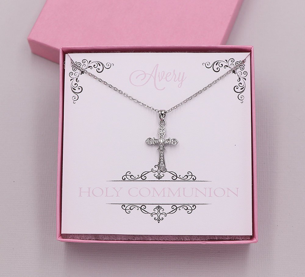 First Communion Necklace, Cross Necklace, first communion jewelry, Holy Communion Gift, Cross Pendant Necklace