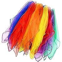 LALANG 12Pcs Square Juggling Chiffon Dance Scarves Magic Tricks Performance Props Accessories Movement Handkerchief