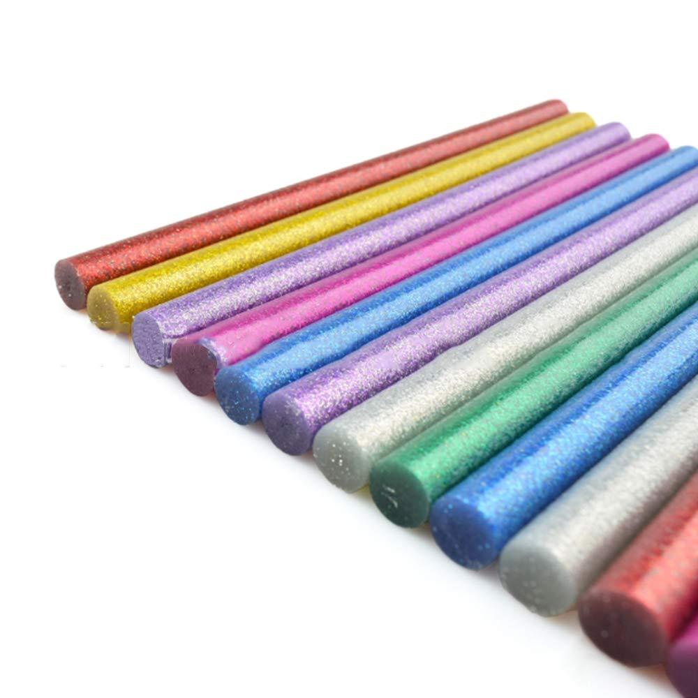 Xinlie Glitter Hot Melt Glue Sticks pegamento de color para pistolas de pegamento caliente/Ø11 mm14 piezas sticks de pegamento de color Pegamento caliente sticks sticks en7colores diferentes 14piezas