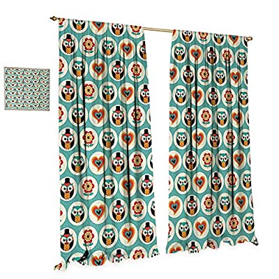 Anniutwo Kids Window Curtain Drape Owls in Female and Male Clothing with Hearts Flowers Happy Playroom Childish Print Decorative Curtains for Living Room Multicolor