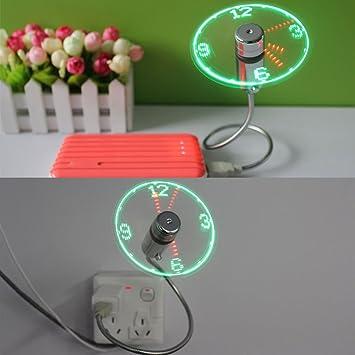 Mini USB LED Clock Fan Message Fan mit Flexibler Schwanenhals Mini USB Ventilator