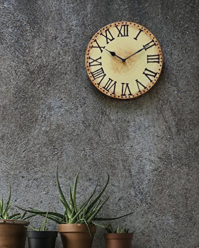 Store Indya Gifts Wooden Wall Clock Cream Handcraft Decorative Large Vintage Style For Living Room Rustic Round Roman Numeral