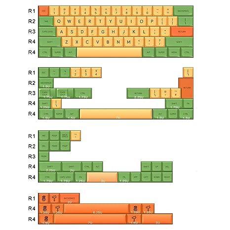 Amazon.com: 60 % de llaves, material PBT MDA llaveros, piña ...