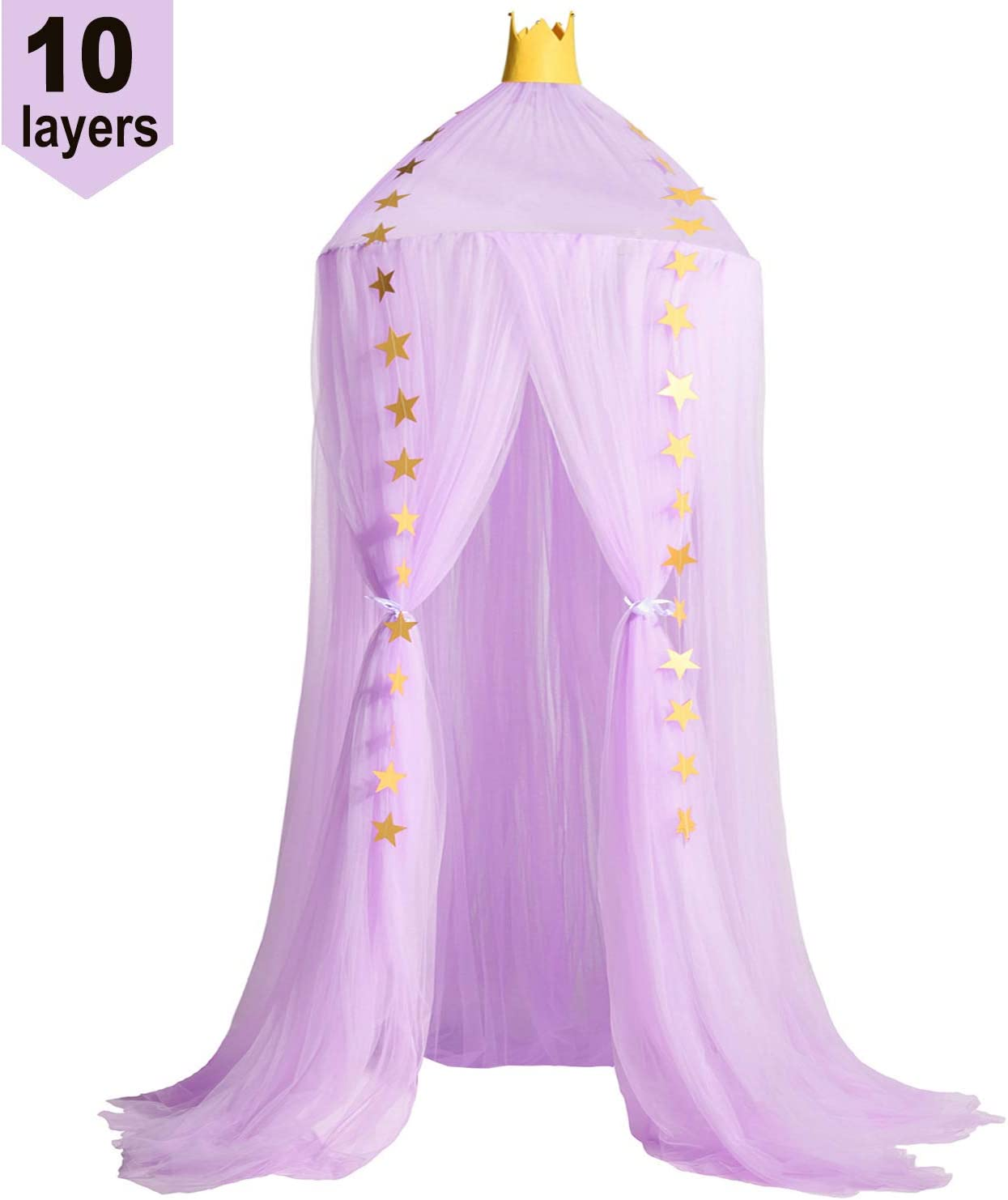 Jolitac Princess Bed Canopy for Kids Room Decor Round Lace Mosquito Net Play Tent Baby Beding Canopys Yarn Girls Dome Netting Curtains Girls Games House Pink Castle (Purple)