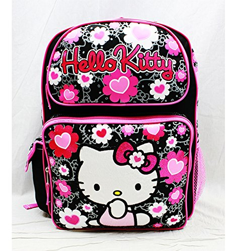 Hello Kitty Backpack Black Flower Bow Large Girls School Bag New 84011 -