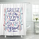 Emvency Shower Curtain Faithful Trust in The Lord Bible Verse Hand Lettered Quote Modern Calligraphy Christian Gospel Waterproof Polyester Fabric 72 x 78 inches Set with Hooks