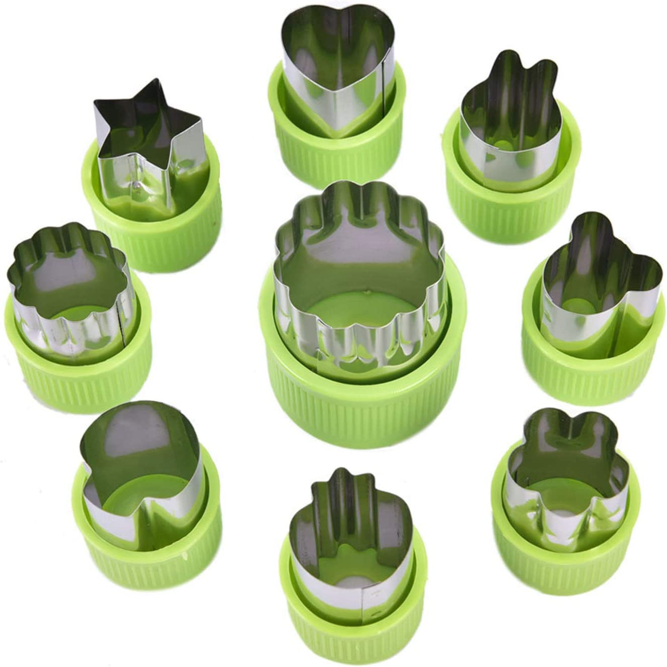 37YIMU Stainless Steel Flower Shape Fruit Vegetable Cutter Shapes Set (9 Piece), Mini Fruit and Cookie Stamps Mold, for Kids Baking and Food Supplement Tools Accessories Crafts for Kitchen, Green