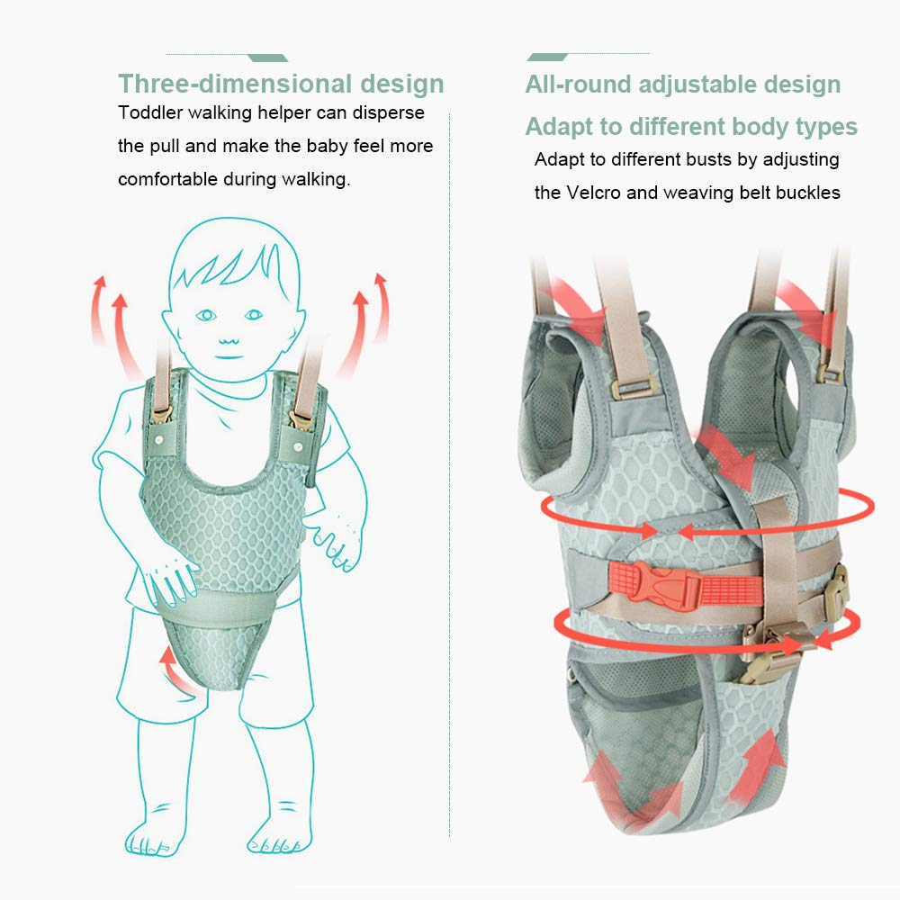 Baby Walker Toddler Walking Harness Helper with 2 Knee Pads Adjustable Standing Up and Walking Learning Helper for Toddler 7-24 Month-Green